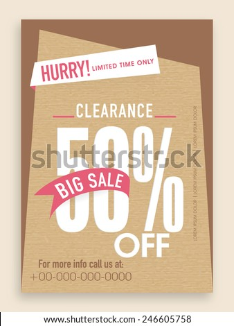 Clearance sale flyer, template or banner design. - stock vector
