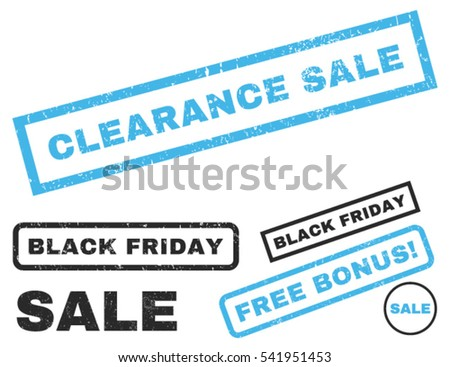 Clearance Sale rubber seal stamp watermark with bonus design elements for Black Friday offers. Vector blue and gray emblems. Tag inside rectangular shape with grunge design and scratched texture.