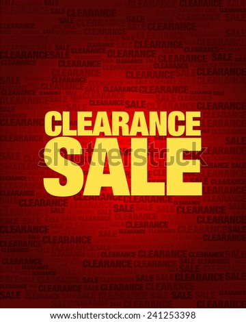 Clearance sale text on red gradient background. - stock vector