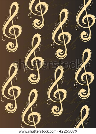 clefs on brown background - vector