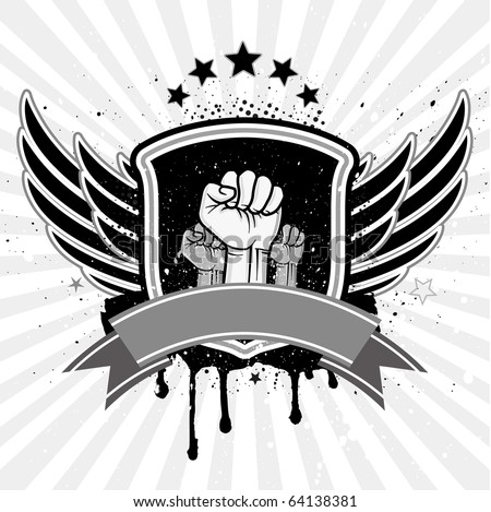 clenched fist and wing with shield - stock vector