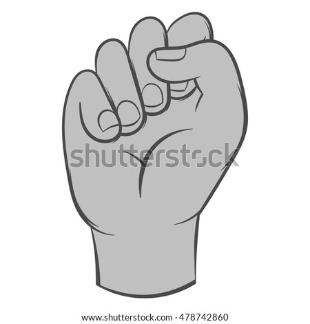 Clenched fist icon in black monochrome style isolated on white background. Gestural symbol. Vector illustration