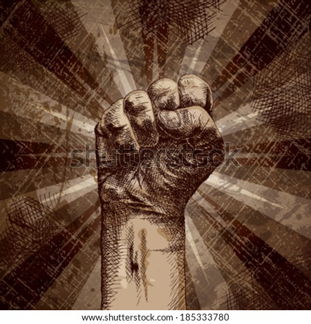Clenched fist on grunge background as a symbol of strength, will, change ... - stock vector