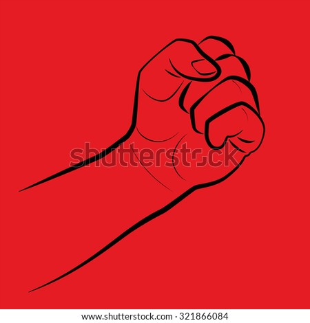 Clenched fist, threatening gesture. Illustration on red background.