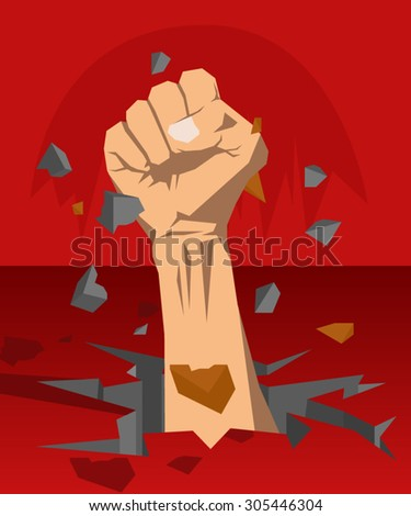 Clenched hands out of the underground - stock vector