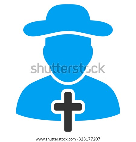 Cleric vector icon. Style is bicolor flat symbol, blue and gray colors, rounded angles, white background.