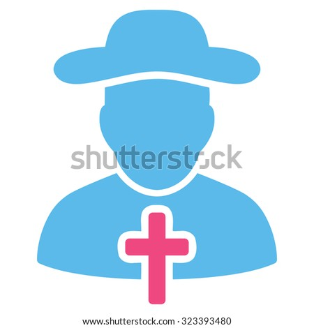Cleric vector icon. Style is bicolor flat symbol, pink and blue colors, rounded angles, white background.