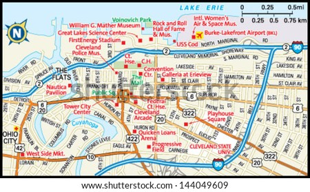 cleveland ohio downtown map stock vector shutterstock