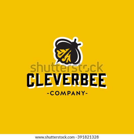 Clever Bee Conceptual Simple Symbol for Creative Co. Memorable Visual Metaphor. Represents the Concept of Intelligence, Creativity, Diligence, Team work, Zeal, Ardor, Leadership, Hard Work etc.   - stock vector