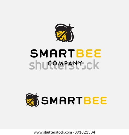 Clever Bee Conceptual Simple Symbol for Creative Co. Memorable Visual Metaphor. Represents the Concept of Intelligence, Creativity, Diligence, Team work, Zeal, Ardor, Leadership Hard Work etc.   - stock vector