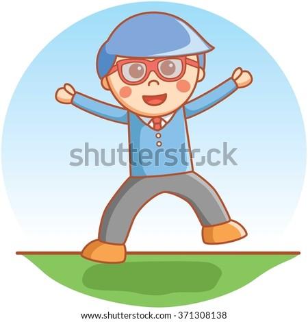 Clever boy happy jump - stock vector