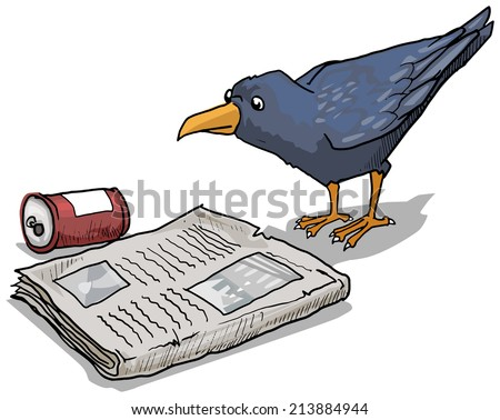 Clever crow reading a discarded newspaper, vector illustration - stock vector
