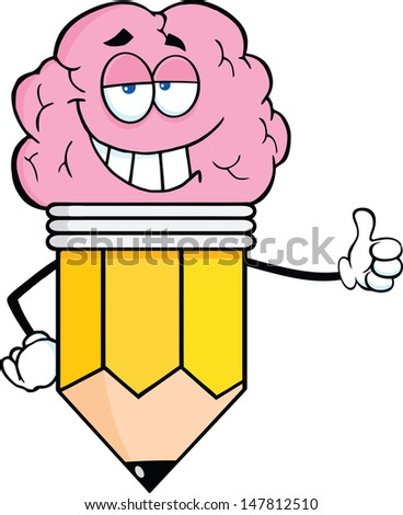 Clever Pencil Cartoon Character With Big Brain Giving A Thumb Up - stock vector