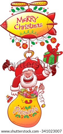 Clever Santa Claus carrying his presents bag and holding a gift with the tip of his hand while hanging from a zeppelin, thanks to a claw grabbing the back of his red suit, and laughing animatedly