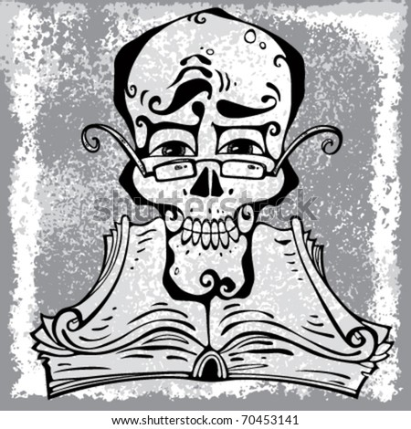 Clever skull. Skull wear eyeglasses over open ancient book with curly pages. With grunge texture on background layer. Easy to edit. - stock vector