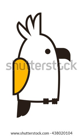 Clever speaking outline parrot sits on wooden pole, black outline silhouette on white background. Vector outline parrot bird sketch tattoo abstract macaw pet. Wild tropical cartoon parrot. - stock vector