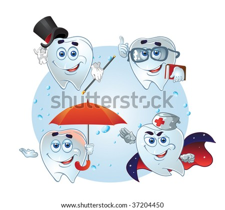 clever teeth hurry up on help on a background - stock vector