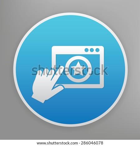 Click design icon on blue button,clean vector - stock vector