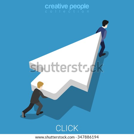 Click flat 3d isometry isometric internet marketing advertisement concept web vector illustration. Two micro businessmen carry huge white mouse cursor pointer. Creative people collection. - stock vector