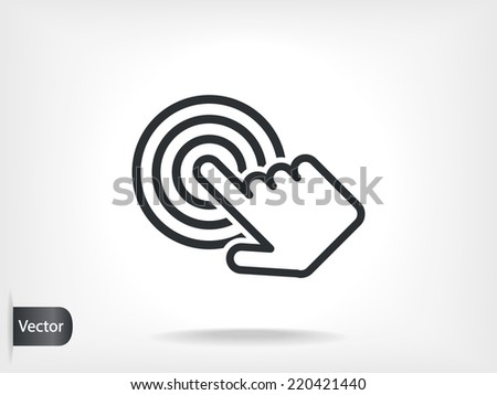 click, hand icon  - stock vector