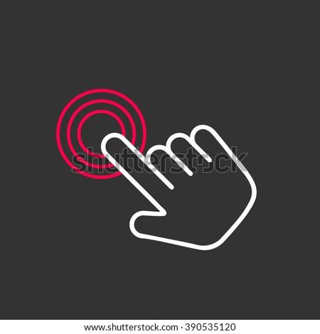 Click hand icon,  click hand icon vector,  flat click hand icon design. Click hand icon on gray background. Hand click icon. Target hand click. Web hand click icon.Hand click pictogram icon.  - stock vector