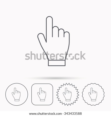 Click hand icon. Press or push pointer sign. Linear circle, square and star buttons with icons.