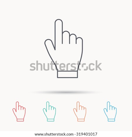 Click hand icon. Press or push pointer sign. Linear icons on white background. Vector