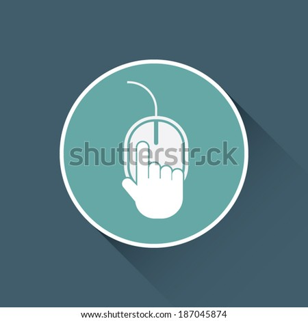 Click here flat design icon with hand. Eps10 vector illustration - stock vector