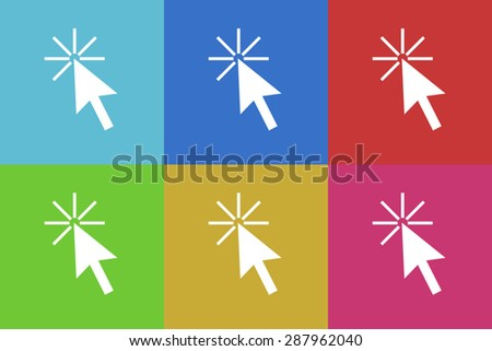 click here flat design modern vector icons set for web and mobile app - stock vector