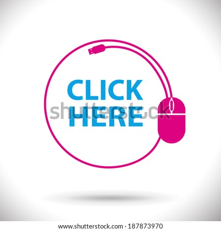 Click here icon mouse button vector illustration. - stock vector