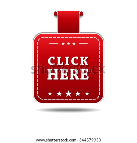 Click Here Red Vector Icon Design