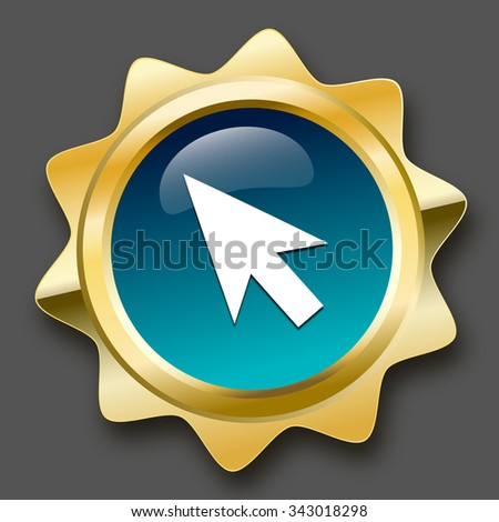 Click here seal or icon with computer mouse symbol. Glossy golden seal or button. - stock vector
