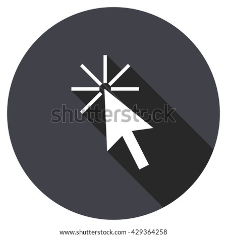 click here vector icon, round flat design button, web and mobile app illustration - stock vector
