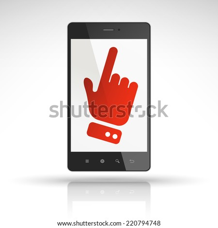 click icon on mobile phone isolated on white  - stock vector