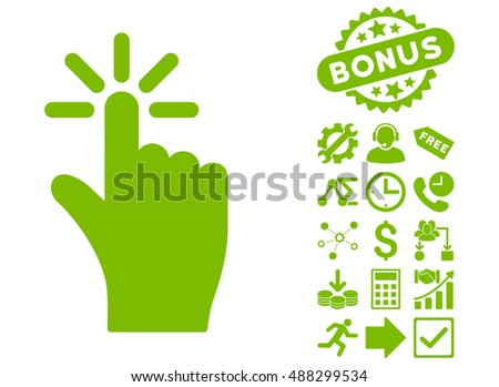 Click icon with bonus pictogram. Vector illustration style is flat iconic symbols, eco green color, white background.