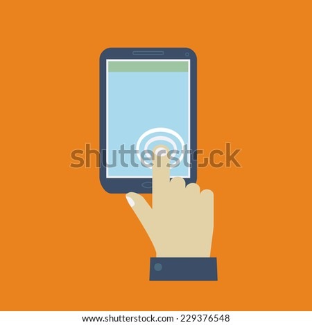 Click on the screen mobile phone. Flat design vector for web - stock vector
