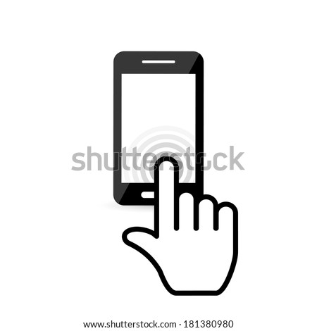 click on the screen mobile phone. vector eps10 - stock vector