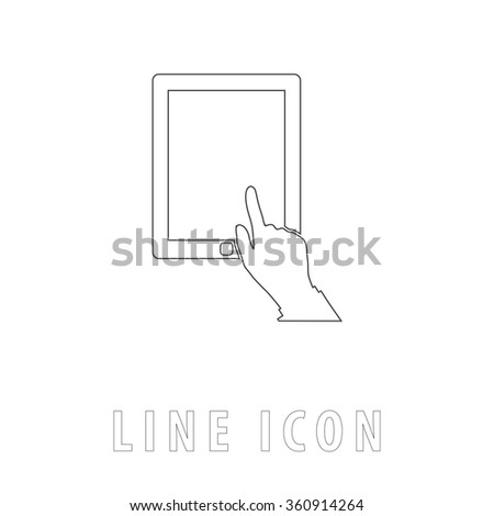 click tablet Outline simple vector icon on white background. Line pictogram with text  - stock vector