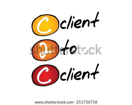 Client To Client (c2c), business concept acronym - stock vector