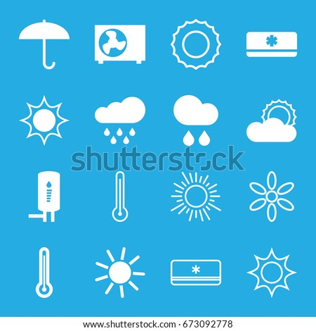 Climate icons set. set of 16 climate filled and outline icons such as sun, rain, geyser, air conditioner, thermometer