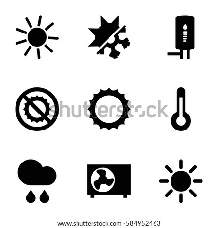 climate icons set. Set of 9 climate filled icons such as sun, no brightness, rain, geyser, air conditioner, temperature