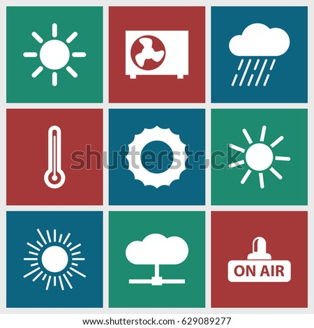 Climate icons set. set of 9 climate filled icons such as sun, rain, open air, air conditioner, thermometer