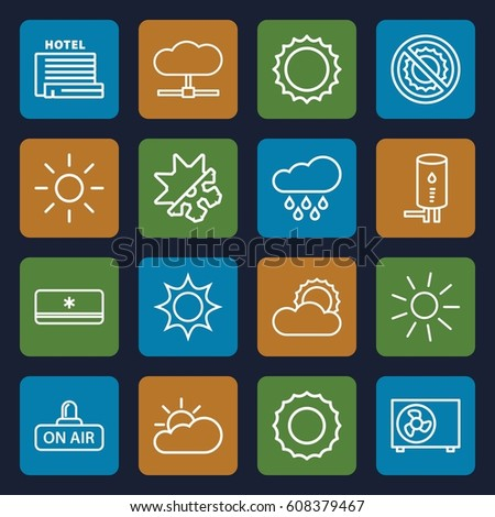 Climate icons set. set of 16 climate outline icons such as sun, no brightness, open air, geyser, air conditioner, cold and hote mode, sun cloud, rain