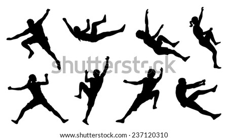climb silhouettes on the white background - stock vector