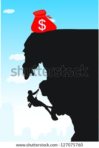 Climb up to the dollar. - stock vector