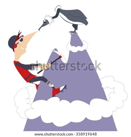 Climber. Man climbing the mountain and meeting an eagle - stock vector