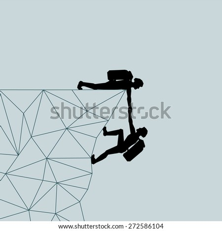 Climber man pulls the mountains. Help. Salvation. Lifeguard. Vector illustration scale of any size. All elements are grouped. - stock vector