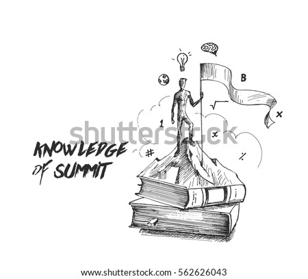 Climber with flag standing on book showing her knowledge. Hand Drawn Vector Background.