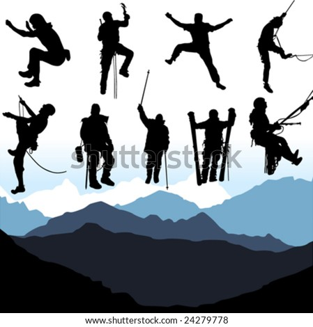 climbers and mountain set - stock vector