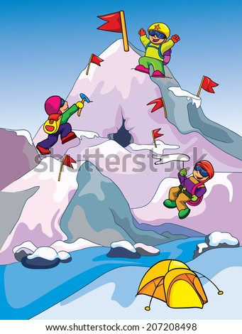 climbers climb the mountain, vector illustration on a colored background - stock vector